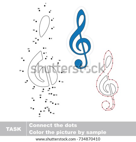 Music Treble Clef. Dot to dot educational game for kids.