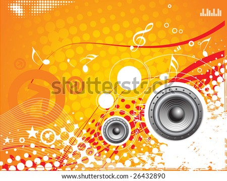 music vector composition wih grunge halftone background
