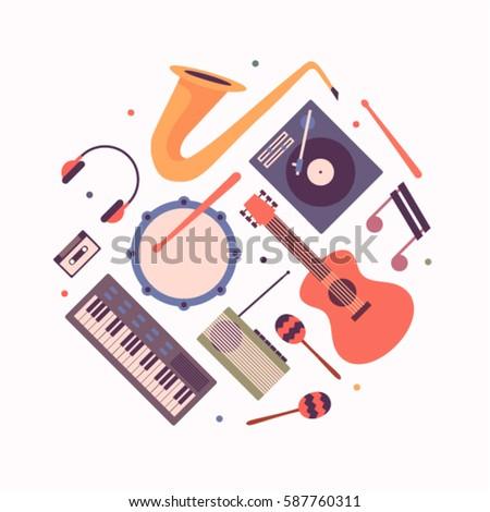 Music, vector flat illustration, icon set, background. Musical instruments. Trumpet, dj mixer, note, guitar, drum, maracas, radio, cassette, headphones