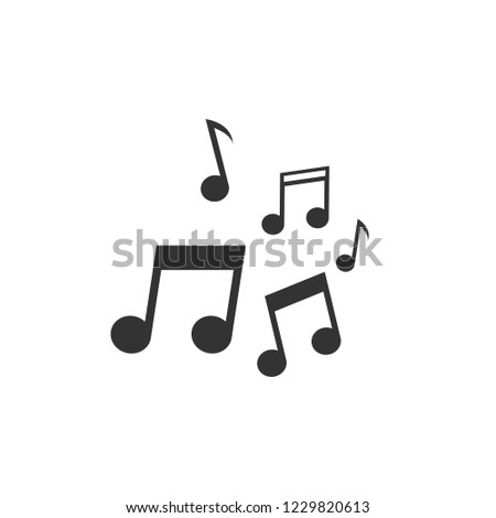 Music vector icon or concept for logo design. Clean and flat black icon on white background. Music notes graphic illustration