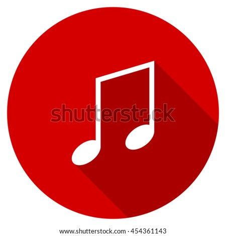 music vector icon, red modern flat design web element