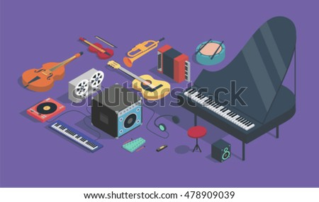 music  vector isometric