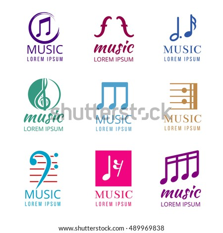 music vector logos set studio