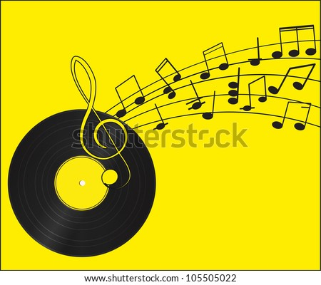 music vinyl record treble clef and notes for your design on a yellow background stock vector. Black Bedroom Furniture Sets. Home Design Ideas