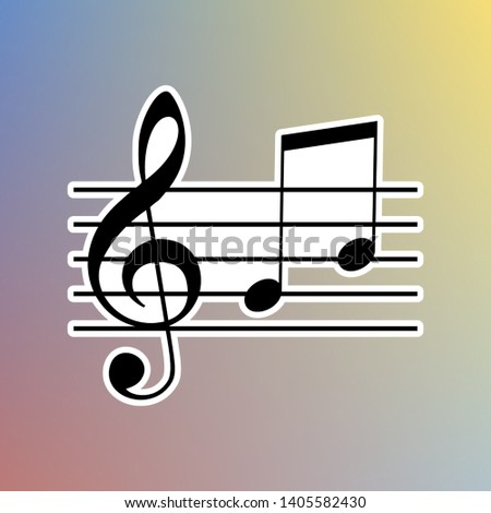 Music violin clef sign. G-clef and notes G, H. Black icon in white shell at pastel color background. Illustration.