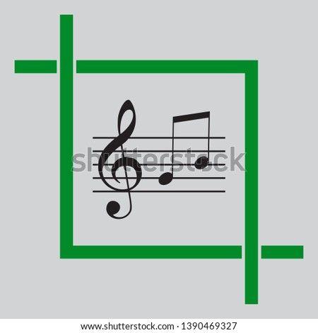 Music violin clef sign. G-clef and notes G, H. Black icon inside green crop tool at light gray background