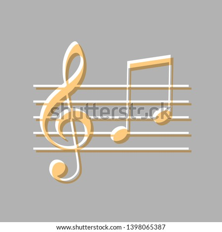 Music violin clef sign. G-clef and notes G, H. Emboss effect with light orange icon on gray background.