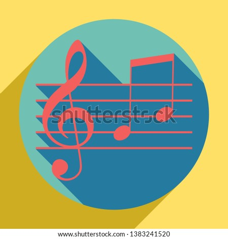 Music violin clef sign. G-clef and notes G, H. Sunset orange icon with llapis lazuli shadow inside medium aquamarine circle with different goldenrod shadow at royal yellow background.