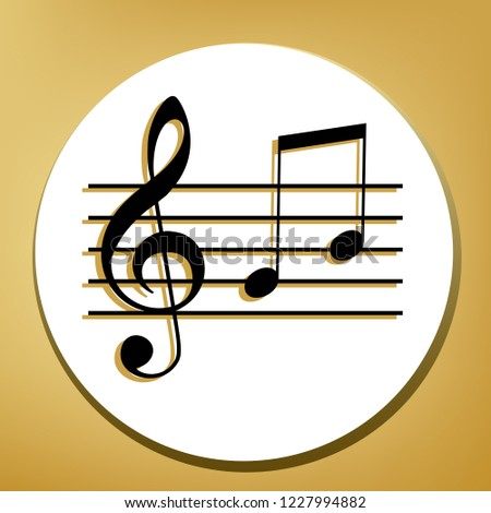 Music violin clef sign. G-clef and notes G, H. Vector. Black icon with light brown shadow in white circle with shaped ring at golden background.