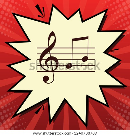 Music violin clef sign. G-clef and notes G, H. Vector. Dark red icon in lemon chiffon shutter bubble at red popart background with rays.