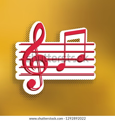 Music violin clef sign. G-clef and notes G, H. Vector. Magenta icon with darker shadow, white sticker and black popart shadow on golden background.