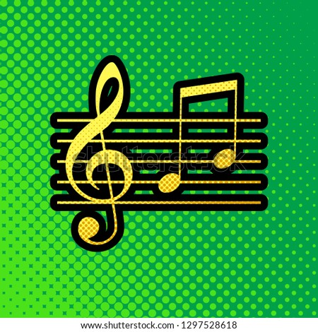 Music violin clef sign. G-clef and notes G, H. Vector. Pop art orange to yellow dots-gradient icon with black contour at greenish background.