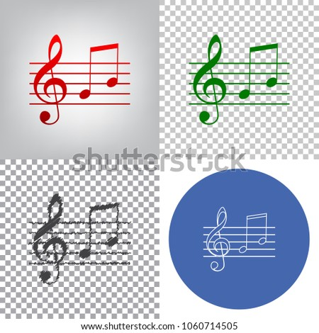 Music violin clef sign. G-clef and notes G, H. Vector. 4 styles. Red gradient in radial lighted background, green flat and gray scribble icons on transparent and linear one in blue circle.