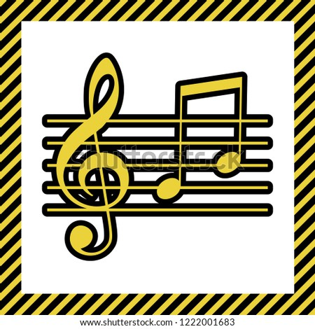 Music violin clef sign. G-clef and notes G, H. Vector. Warm yellow icon with black contour in frame named as under construction at white background. Isolated.