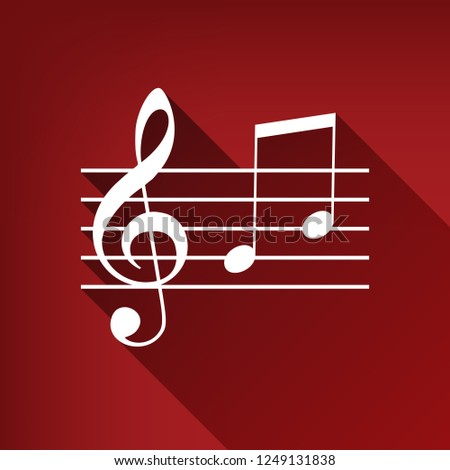 Music violin clef sign. G-clef and notes G, H. Vector. White icon with limitless shadow at ruby red background.