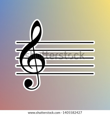 Music violin clef sign. G-clef. Black icon in white shell at pastel color background. Illustration.