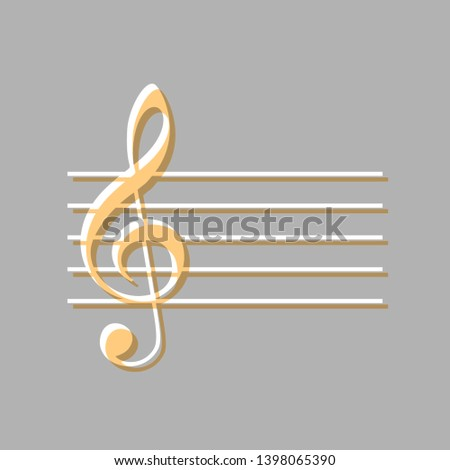 Music violin clef sign. G-clef. Emboss effect with light orange icon on gray background.