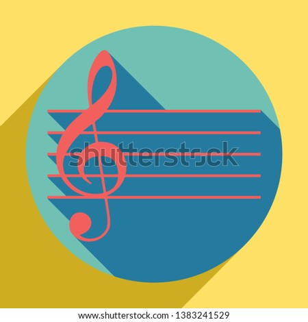 Music violin clef sign. G-clef. Sunset orange icon with llapis lazuli shadow inside medium aquamarine circle with different goldenrod shadow at royal yellow background.