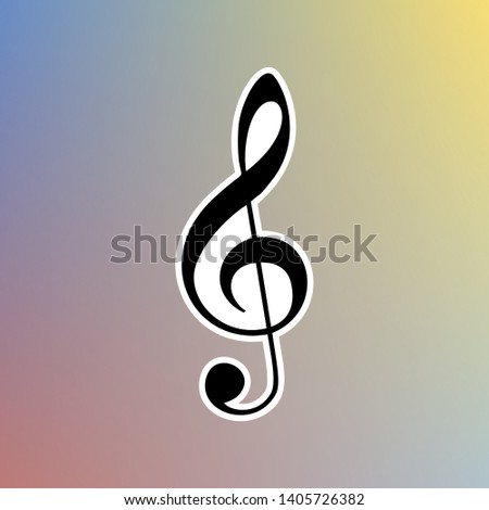 Music violin clef sign. G-clef. Treble clef. Black icon in white shell at pastel color background. Illustration.