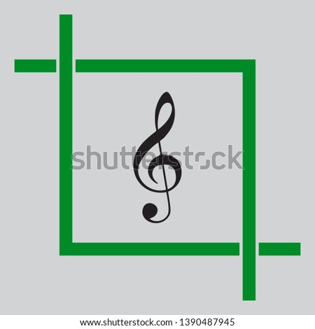 Music violin clef sign. G-clef. Treble clef. Black icon inside green crop tool at light gray background