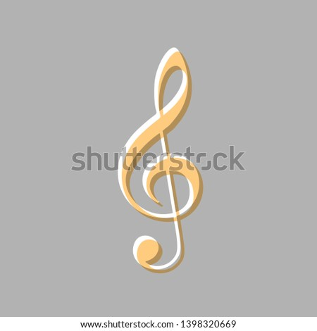 Music violin clef sign. G-clef. Treble clef. Emboss effect with light orange icon on gray background.