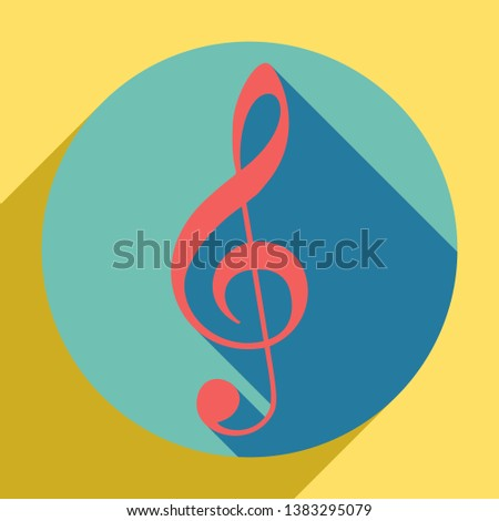 Music violin clef sign. G-clef. Treble clef. Sunset orange icon with llapis lazuli shadow inside medium aquamarine circle with different goldenrod shadow at royal yellow background.