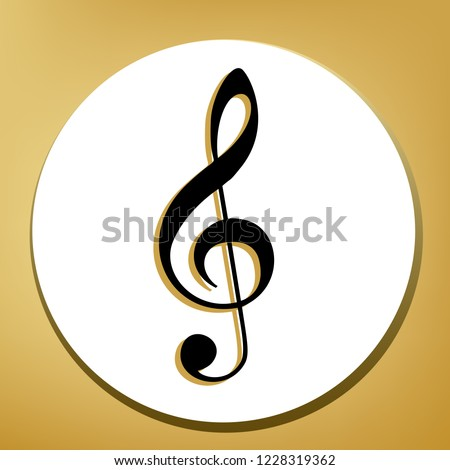 Music violin clef sign. G-clef. Treble clef. Vector. Black icon with light brown shadow in white circle with shaped ring at golden background.