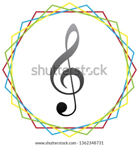 Music violin clef sign. G-clef. Treble clef. Vector. Black icon with patch of light inside colorful hexagonal frames at white background.