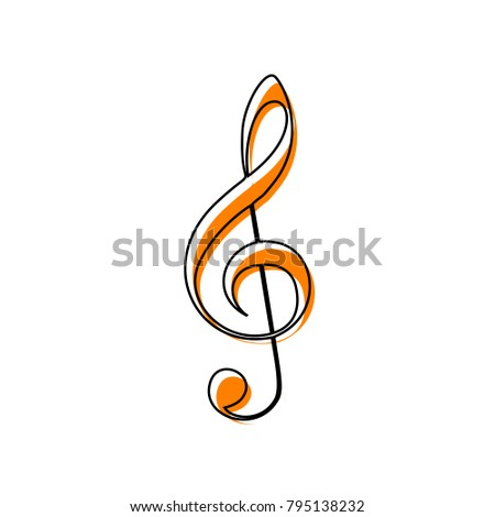 Music violin clef sign. G-clef. Treble clef. Vector. Black line icon with shifted flat orange filled icon on white background. Isolated.