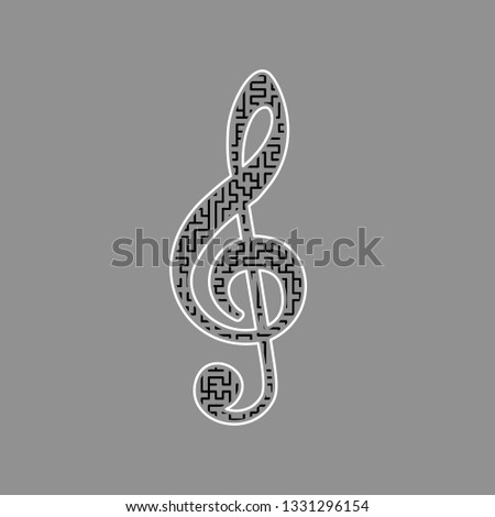 Music violin clef sign. G-clef. Treble clef. Vector. Black maze filled icon with white border at gray background.