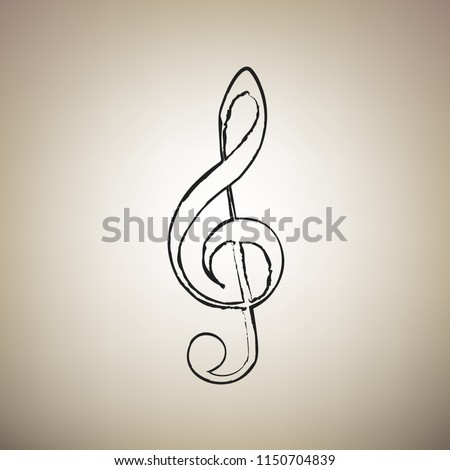 Music violin clef sign. G-clef. Treble clef. Vector. Brush drawed black icon at light brown background.