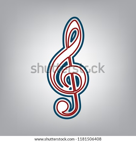 Music violin clef sign. G-clef. Treble clef. Vector. Dark red, transparent and midnight green stroke of white icon at grayish background.