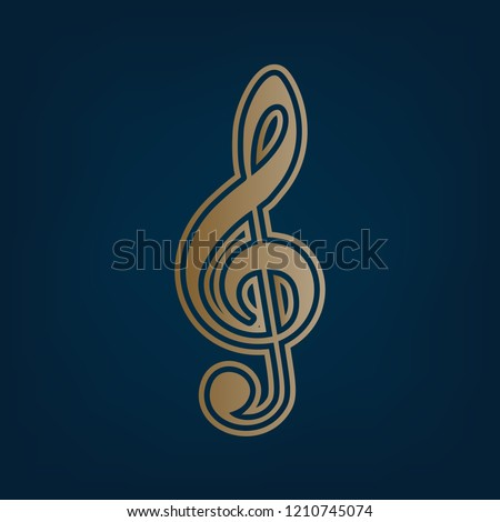 Music violin clef sign. G-clef. Treble clef. Vector. Golden icon and border at dark cyan background.