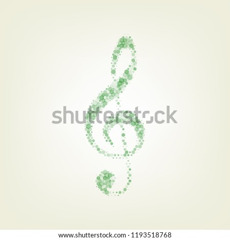 Music violin clef sign. G-clef. Treble clef. Vector. Green hexagon rastered icon and noised opacity and size at light green background with central light.