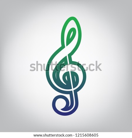 Music violin clef sign. G-clef. Treble clef. Vector. Green to blue gradient contour icon at grayish background with light in center.