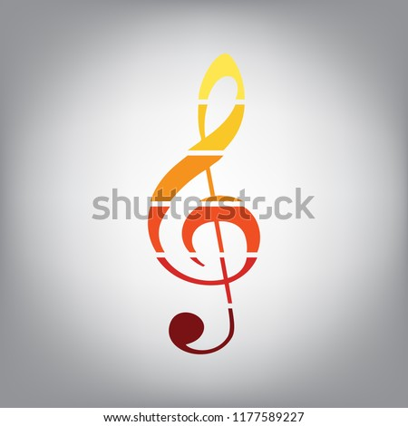 Music violin clef sign. G-clef. Treble clef. Vector. Horizontally sliced icon with colors from sunny gradient in gray background.