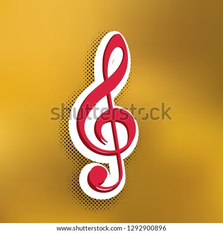 Music violin clef sign. G-clef. Treble clef. Vector. Magenta icon with darker shadow, white sticker and black popart shadow on golden background.