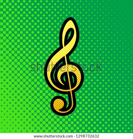 Music violin clef sign. G-clef. Treble clef. Vector. Pop art orange to yellow dots-gradient icon with black contour at greenish background.