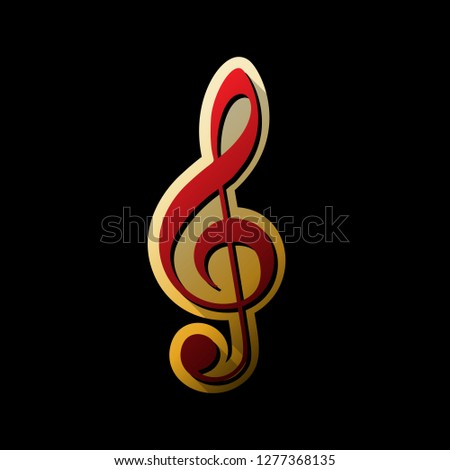 Music violin clef sign. G-clef. Treble clef. Vector. Red icon with small black and limitless shadows at golden sticker on black background.