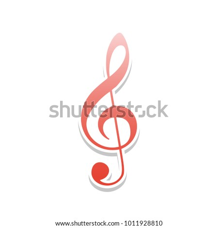 Music violin clef sign. G-clef. Treble clef. Vector. Reddish icon with white and gray shadow on white background. Isolated.