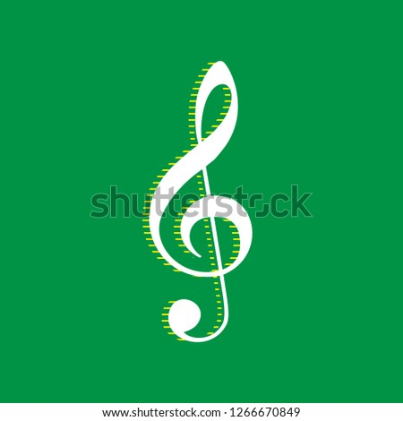 Music violin clef sign. G-clef. Treble clef. Vector. White flat icon with yellow striped shadow at green background.