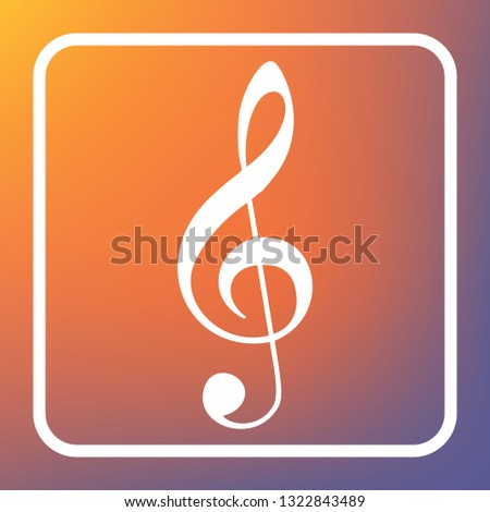 Music violin clef sign. G-clef. Treble clef. Vector. White icon on transparent button at orange-violet gradient background.
