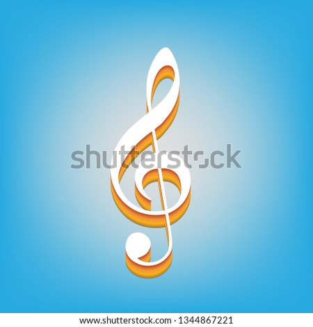 Music violin clef sign. G-clef. Treble clef. Vector. White icon with 3d warm-colored gradient body at sky blue background.