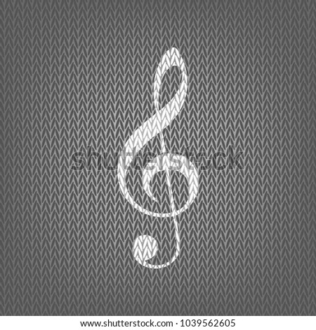 Music violin clef sign. G-clef. Treble clef. Vector. White knitted icon on gray knitted background. Isolated.