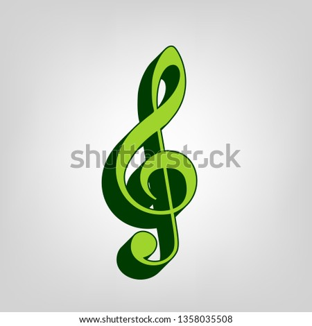 Music violin clef sign. G-clef. Treble clef. Vector. Yellow green solid icon with dark green external body at light colored background.