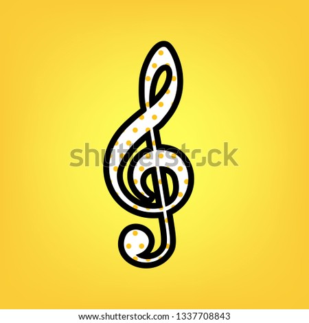 Music violin clef sign. G-clef. Treble clef. Vector. Yellow polka dot white icon with black contour at warm yellow background.