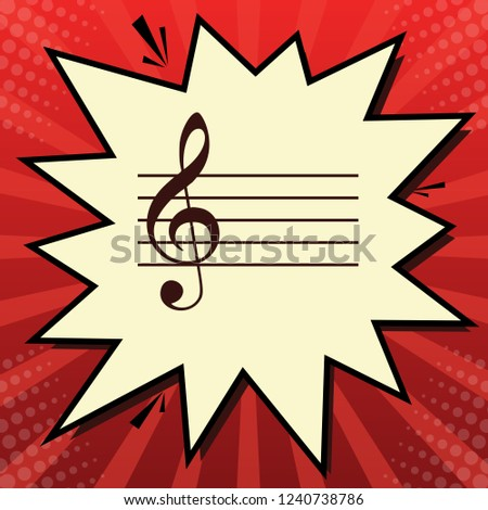 Music violin clef sign. G-clef. Vector. Dark red icon in lemon chiffon shutter bubble at red popart background with rays.