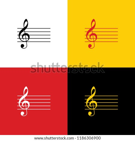 Music violin clef sign. G-clef. Vector. Icons of german flag on corresponding colors as background.