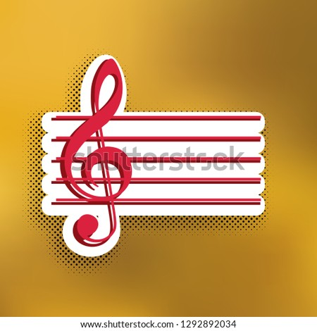 Music violin clef sign. G-clef. Vector. Magenta icon with darker shadow, white sticker and black popart shadow on golden background.