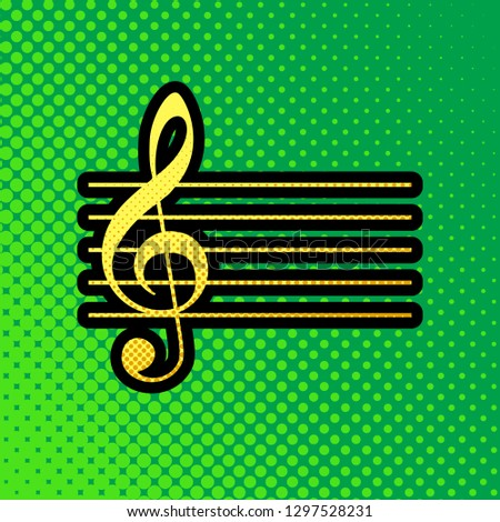 Music violin clef sign. G-clef. Vector. Pop art orange to yellow dots-gradient icon with black contour at greenish background.
